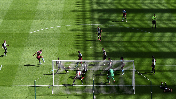 Tomas Soucek volleys in West Ham's second goal against Newcastle
