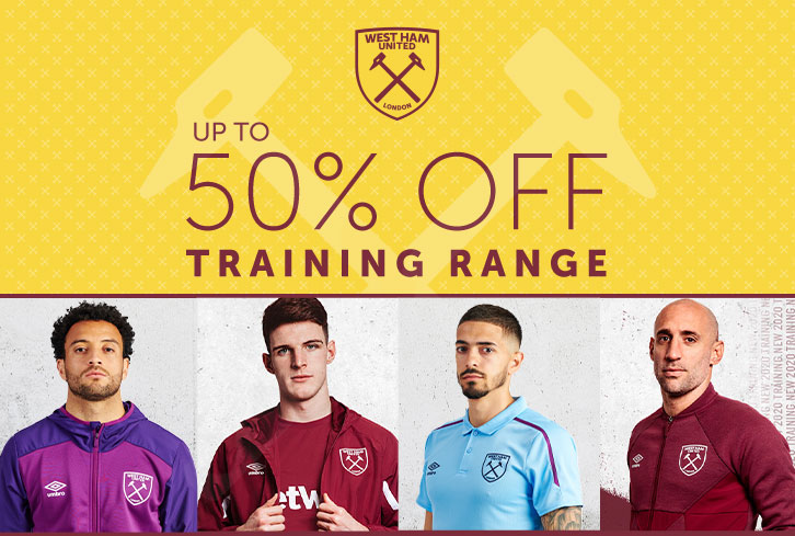 50 per cent off training wear