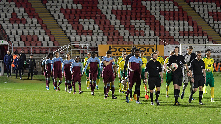 West Ham United U23s walk out against Norwich U23s in their last Premier League 2 Division 2 game