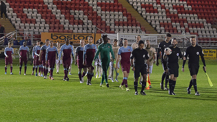 West Ham United U23s walk out against Manchester United U23s in January
