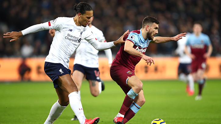 Robert Snodgrass for West Ham United against Liverpool